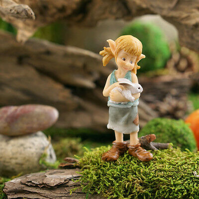 "3.25"" My Fairy Gardens Mini Figure - Girl Pixie Hugging Bunny Miniature Figurine"