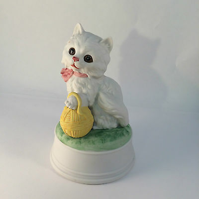 White Cat Musical Gorham Bisque Finish Made in Japan Song Name Unkown