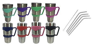 Tumbler Handle 30 oz YETI Holder Stainless Steel Straw Red Pink Blue Black
