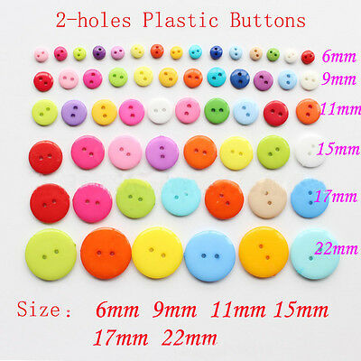 100 Pcs 2-hole Round Plastic Buttons 6mm-22mm Sewing Mixed Craft DIY Decoration