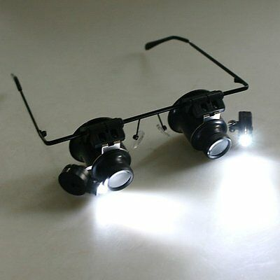 20X Eye Loupe Magnifier Glass Magnifying Jewelers Low Vision Aid LED Lights New