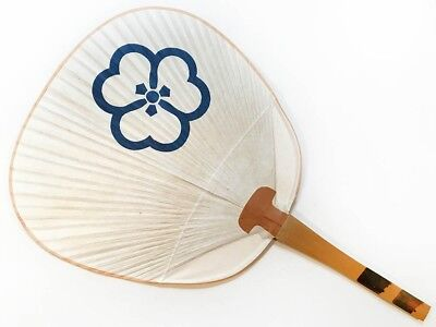 Vintage 1990 Maiko Uchiwa Fan from Kyoto's Famous Gion Geisha District: Blue H