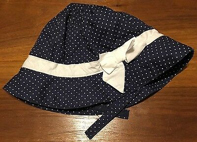 03230fe957bec Janie And Jack Layette Baby Girls Blue With White Polka Dots Bow Hat 12-18