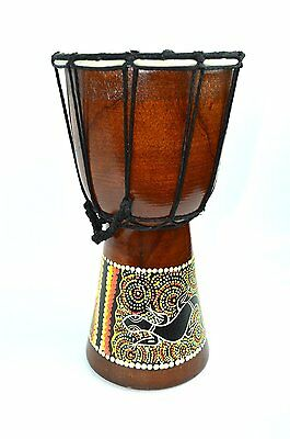 Med. Mahogany Wood African Goat Skin Djembe Bongo Drum Painted Design 9""