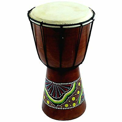 Small Mahogany Wood African Goat Skin Djembe Bongo Drum Painted Design 6""