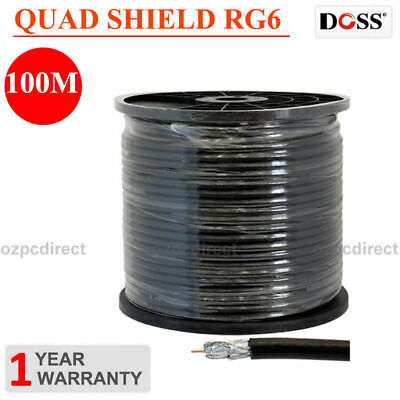 Doss 75 OHM COAX CABLE Quad shield RG6 100m Roll for Digital TV UHF Pay Satell