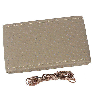 Beige DIY Leather Car Truck Auto Steering Wheel Cover With Needles and Thread