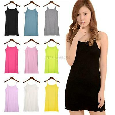 5bf3332e5b2 Long Cami With Shelf Bra Camisole Adjustable Spaghetti Strap Tank Top Vest  Crop