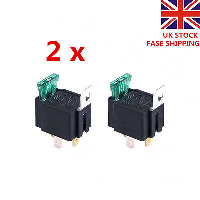2 X 30A 12V CAR BOAT 4 PIN FUSE RELAY ON/OFF Fused Switch Spotlamps  Box Holder