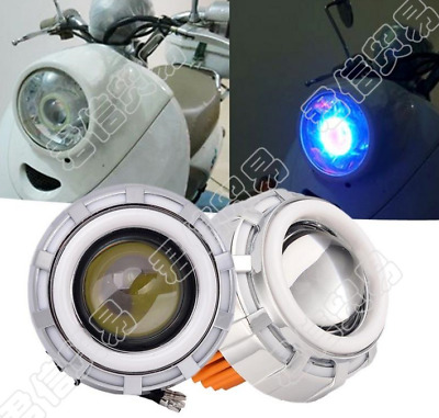 High/Low Beam LED Projector Headlight For Motorcycle Angel Eyes White Devil Eye