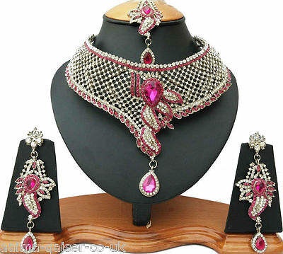 Indian Vintage Style Jewellery Set Silver Plated Cerise Clear Stones New - Aq/42