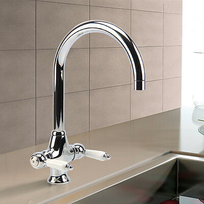 Traditional Victorian Chrome Twin White Lever Kitchen Sink Mixer Tap