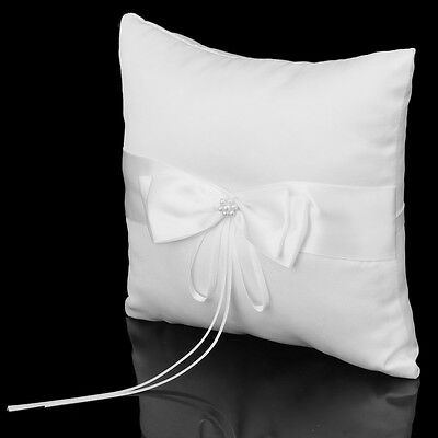 FP Wedding Ring Pillow Cushion Bearer Embellished with Faux Pearl Satin---Ivory