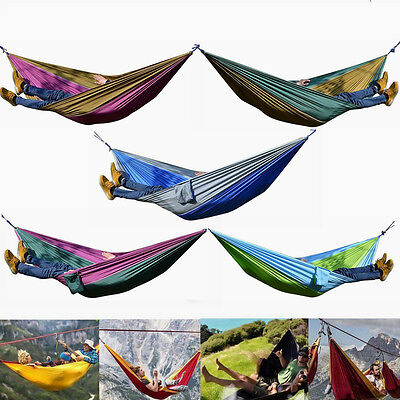 Enjoy Double Person Travel Camping Outdoor Nylon Fabric Hammock Parachute Bed UK