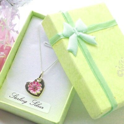Pink Flower girl sterling silver daisy Heart double pendant giftbox or pouch
