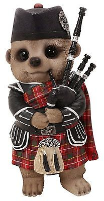 Brand New Scottish Bagpiper Meerkat Garden Ornament