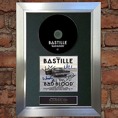 BASTILLE Bad Blood Signed Autograph CD & Cover Mounted Print A4 31