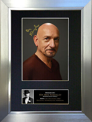 BEN KINGSLEY Signed Autograph Mounted Reproduction Photo A4 Print 341
