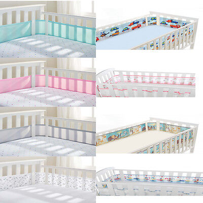 Breathable Baby Mesh Cot Liner / Bumper  - 2 or 4 Sided - Lots of Colour Choices
