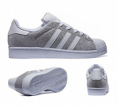 Adidas Superstar Silver White Sparkle / Glitter New S75125