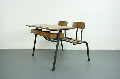Vintage Industrial French Children's Child's Double Desk #1739