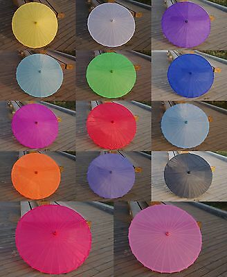 33 Inches Adult Plain Silk And Bamboo Parasol Umbrella Wedding Party Favors