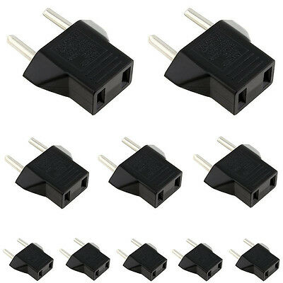 10PCS USA US To EU Euro Europe AC Power Plug Converter Travel Adapter Charger