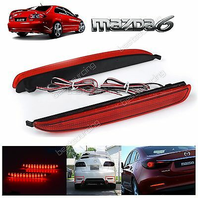 2X Red LED Rear Bumper Reflector Brake Stop Light JDM Mazda6 Atenza Mazdaspeed6