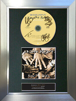 BON JOVI Signed Autograph CD & Cover Mounted Print A4 43