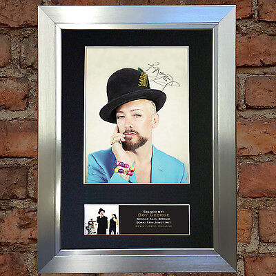 BOY GEORGE Signed Autograph Mounted Photo Reproduction A4 Print 394