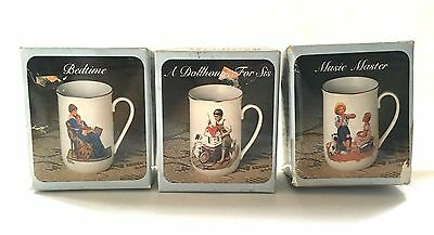 1983 24K Gold Trim Norman Rockwell Collector Porcelain Mugs Set Of 3 Japan Nib