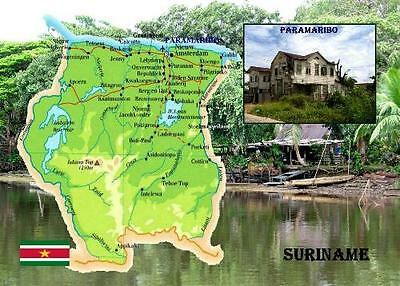 Suriname Country Map New Postcard