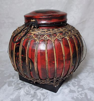 Antique 19th C. Chinese Woven & Lacquered Rice / Wedding Basket Bowl 14 x 12
