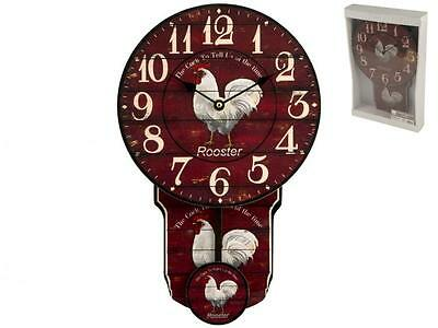 H&H Clock with pendulum rooster cm37x24 Clock and alarm clock