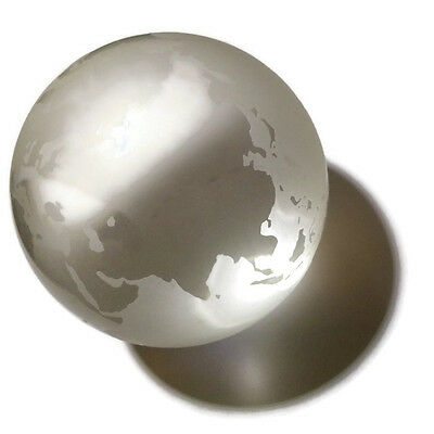 Tiffany and Co Large Etched Glass Paperweight World Globe Sophos