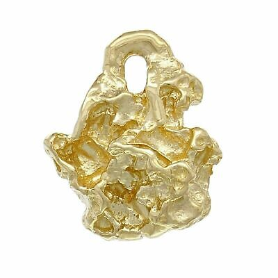 14k Yellow Gold Solid Free Form Nugget Charm Pendant 2.8 grams