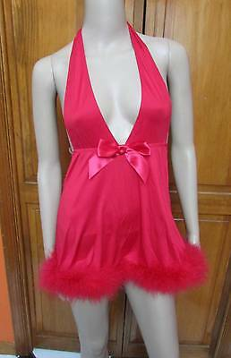 Frederick's of Hollywood Low Cut Red Fur Bottom Halter Top Sexy Nighty Sz S XL