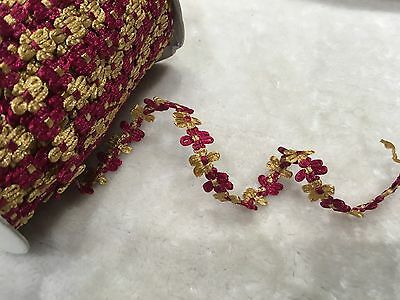 12mm Beautiful rococo ribbon DIY Craft bow trim red And Gold  Per Meter