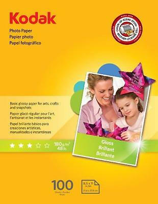 Kodak Glossy Photo Paper, 8.5 x 11 Inches, 100 Sheets per Pack (8209017), New, F