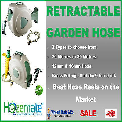 NEW Hozemate Auto Rewind Retractable Water Garden Home Hose + Bracket wall mount