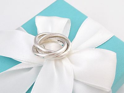 Tiffany & Co Silver Triple Interlocking Ring Size 8.5 Box Included
