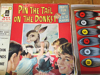 BRT Vintage John Sands 1960's Pin the Tail on the Donkey Board Wall Game