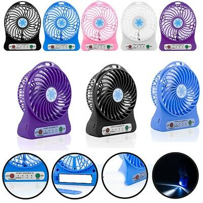 New Portable Rechargeable LED Fan air Cooler Mini Operated Desk USB Fan UK