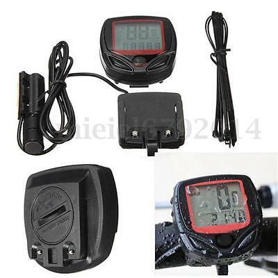 LCD Cycling Bike Bicycle Wired Cycle Computer Odometer Speedometer Waterproof