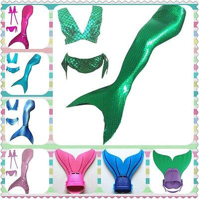Kids Girls3 Pcs swimsuit Mermaid Tails Swimming Mono Fins Flippers Swimable Gift
