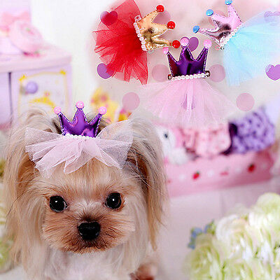 Cute Pet Dog Cat Princess Crown Clips Grooming Hairpin Hair Accessories