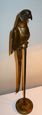 Fabulous Brass Parrot Perched On Tall Stand