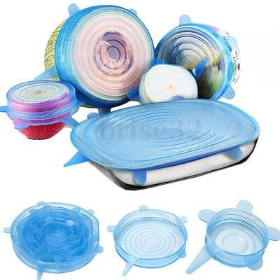 6pcs Silicone Stretch Lids Keep Fresh Food Pan Bowl Cup Dish Premium Cover Set