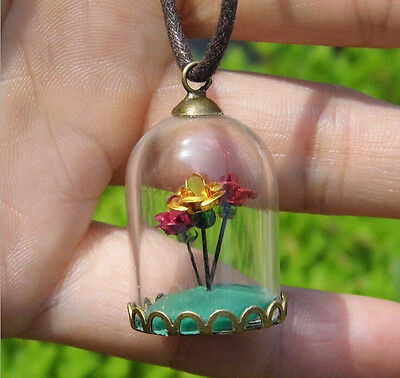 2PC Mini Glass Bottle Cabochon Dome Glass Container Lucky Jewelry Pendant