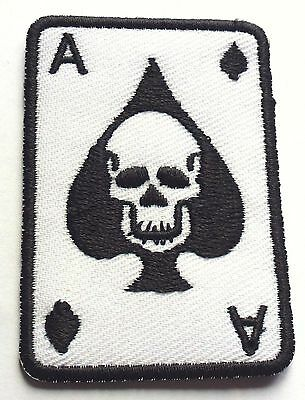ACE OF SPADES SKULL CASINO - SEW OR IRON ON BIKER MOTORCYCLE PATCH No-95